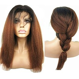 Wholesale Long Kinky Straight Lace Wig - Ombre 1bT30 Peruvian Full Lace Wig Kinky Straight Hair Two Tone Color Remy Human Hair Wig With Baby Hair