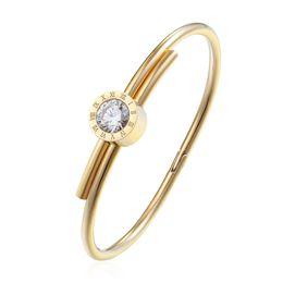 Большие золотые браслеты онлайн-новый дизайн большой кристалл браслет манжеты Браслеты для женщин Нержавеющая сталь Аксессуары Золотой цвет Шарм Wrap Bangles для женщин