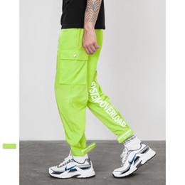 Hip hop verde on-line-Nova Moda Estilo Fluorescentes Corredores Sweatpants Verde Masculino Rua Moda Calças Dos Homens Calças de Hip Hop Pista
