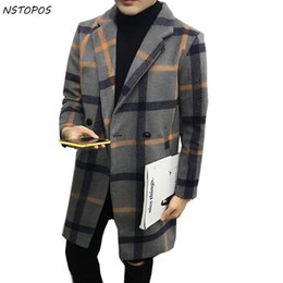 Wholesale Men Coats Checked - Wholesale- Plaid Wool Blend Jacket Thick Trench Coat Slim Fit Vintage Britishe Winter Jacet Yellow Red Check Plus 5xl K Long Trench Coats