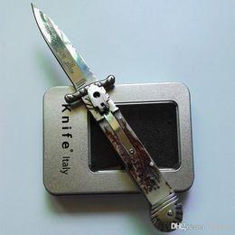 Wholesale Knife Antlers - Hubertus Solingen patron guardian 8.5inch with gift box Antler handle pocket knife folding knife camping knife 1pcs freeshipping