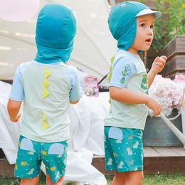 4b9b51befb3c3 Cartoon Swimwear for kids Boys bathing suits swimsuits dinosaur animal Top+ trunks +bathing cap 3pcs set High quality 2018 hotsale A9219