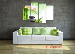 Pintura moderna de bambú online-La flor de bambú de piedra, decoración de hogar de las piezas 4PC HD imprimió la pintura del arte moderno en la lona (Unframed / Framed)