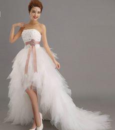 Encantadora novia sexy corto vestido de novia Formal ocasión encaje arriba vestido nupcial XHS02 desde fabricantes