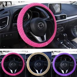 Peluche in nylon online-Coprivolante universale morbido caldo Coprivolante auto Car Styling Perle di velluto Decorazione auto Inverno 4 colori