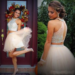 Wholesale halter top dresses plus size - Fashion Two Pieces Halter Homecoming Dresses 2018 Beading Crystal Top Tulle A Line Party 11th Grade Graduation Gown Prom Dress Cocktail
