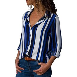 camisas de oficina sexy Rebajas Rogi Otoño Mujeres Blusa de Manga Larga Casual Tops de Rayas Sexy con Cuello En V Blusa Botones Camisas Elegantes Oficina de Las Señoras Blusas Mujer