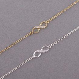 Oito braceletes on-line-2018 Moda digital pulseiras para meninas pulseiras de ouro-cor Oito infinito pulseiras para as mulheres por atacado frete grátis