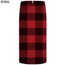Женская красная юбка-карандаш онлайн-KYKU Lattice Skirts Women Red Casual Office Skirt Beautiful 3d Printed Gothic Pencil Party Ladies Skirts Womens Korean 2018 New