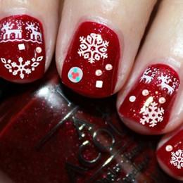 2019 weihnachtsnagelarten Weihnachten Schnee Styles 3D Nail Art Sticker Wasser Decals Design für Nägel White Xmas Rentier Feather selbstklebende Nagel-Tool rabatt weihnachtsnagelarten