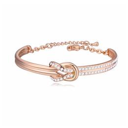 Braccialetto bianco dell'oro delle signore online-Bracciale donna squisita Bracciale moda cristallo Bracciali Bangle per signora gioielli casual Placcatura in lega di vero oro bianco