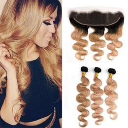 Wholesale dark honey blonde hair - Dark Roots Blonde Ombre Frontal and Bundles #1B 27 Honey Blonde Body Wave Ombre Human Hair Weaves with Lace Frontal Closure