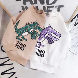 Wholesale Baby White Tshirt - 2018 Spring Baby Girls Cartoon Dinosaur Sweatshirt Kids Pullovers Tops Tshirt Children Casual Sweatshirts 13716