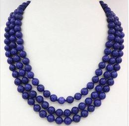 "Wholesale Lapis Lazuli Stone Necklace - 3 rows beads necklace blue lapis lazuli 8mm natural stone round chain 17-19"""