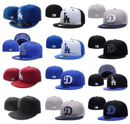 ems china Скидка 2018 новых мужских высшего качества LA встроенная шляпа с плоским Brim вышитые буквы логотип команды поклонники бейсболки Размер шляпы LA на поле полностью закрыты бренды Chapeu