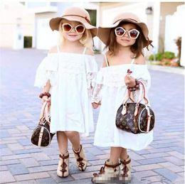 Wholesale Fresh Clothing - European Summer Children Girls Bohemia Off Shoulder Lace Dresses Princess Flowers Fresh Dress Clothing White B11
