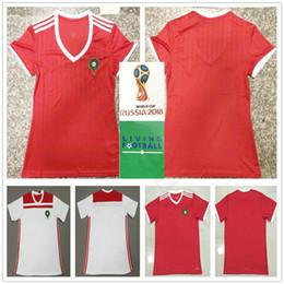Camisas de futebol vermelhas em branco on-line-2018 Copa do mundo Mulheres Camisa de Futebol de Marrocos 10 ZIYECH 5 BENATIA EL AHMADI BOUTAIB BOUSSOUFA Em Branco Personalizado Casa Vermelha Camisa Dos Homens de Futebol