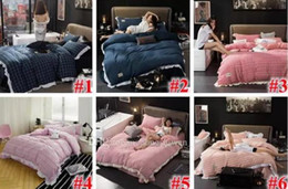 Wholesale Bedding Sets For King Size - 24 Styles Striped Plaid Bedding Sets Plaid Duvet Covers for King Size Bed Plaid Bedding Duvet Cover Sheets Pillow Cover CCA7583 1set
