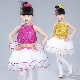 Wholesale Dance Dresses For Kids - New Children Jazzy Dance Wear Girls Sequins Jazz Hip Hop Modern Dance Costumes Princess Dress Performance Stage Wear For Kids