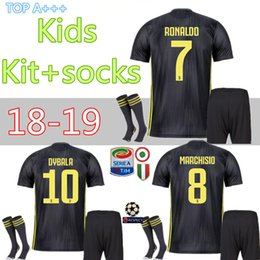 80bf87eed juventus third soccer Jersey kids +socks RONALDO DYBALA HIGUAIN PJANIC  Marchisio child 2018 2019 camiseta de futbol Shirt uniforms kits
