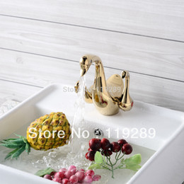ottone del cigno Sconti Gold Swan Design Hot Cold Brass Lavandino da bagno Miscelatore.Double Swan Handle Wash Basin Faucet.Polished Faucet.