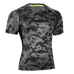 Wholesale Rash Guard Clothing - Fitness T-shirt Men Compression Clothing Joggers Camouflage Tee Shirts Rash guards Bodybuilding Jerseys Crossfit Tees Undershirt