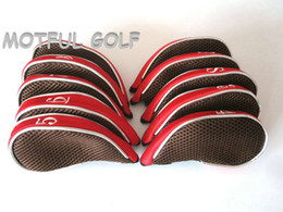 Wholesale Golf Complete Sets - Zipper Golf Iron Headcover irons set Head Cover with zip TMesh fabric 10pcs pack Red color with numbers