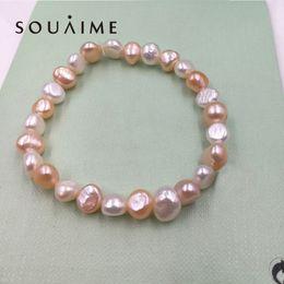 perlen-armbänder Rabatt Heißer Verkauf 100% Natürliche Perle Charms Armband Elastisches Seil Weiße Perlenarmband 5 Farbe Echtes Geschenk Für Freundin