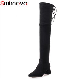 flock band Promo Codes - Smirnova 2018 NEW over the knee high boots with narrow band flock+suede leather boots pointed toe thick heels women