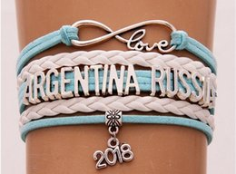 Wholesale cup plates - Infinity Love bracelet Argentina Serbia Russia 2018 world cup jewelry Leather National Flag women men Bangles gift For Soccer Fans