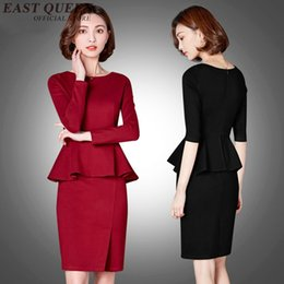 Wholesale Peplum Skirt Suit - Women suits with skirts one-piece office uniform designs women round neck casual office peplum ladies dress AA2299 YQ