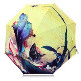 Wholesale Black Illustrations - Creative Illustration Butterfly Flowers Women Rain Sun Umbrella 3 Folding 8 Rib Sunshade Wind Resistant Frame Lady Umbrellas