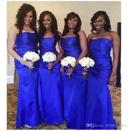 satin dresses Promo Codes - 2018 New Satin Royal Blue Bridesmaid Dresses Strapless Floor Length Ruched Maid of Honor Gown Wedding Guest Dress Plus Size Custom Made