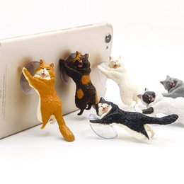 Wholesale cute cellphone holder - Cute Cat Animal Lift Up Phone Stand Cellphone Holder Suck Mount Bracket for iPhone Samsung HTC Universal