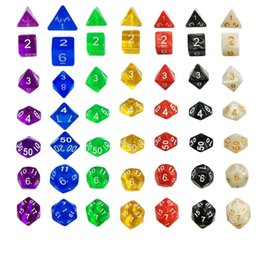 Wholesale Dices Sets - 7pcs Set Resin Polyhedral TRPG Games For Dungeons Dragons Opaque D4-D20 Multi Sides Dice Pop for Game Gaming
