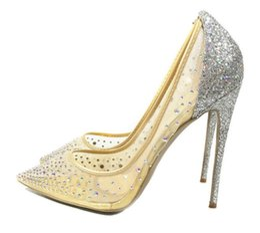 Wholesale Mesh Dress Rhinestones - 2018 spring summer Elegant styles women shoes Rhinestone red bottom high heels crystals pointed toe mesh Pumps woman red sole wedding shoes