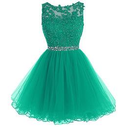 Robes de demoiselle d'honneur courtes vertes en dentelle Puffy perlée Robes de mariée pas cher ? partir de fabricateur