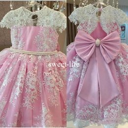 big light balls Coupons - 2019 Gorgeous Lace Appliques Girls Pageant Gowns Cap Sleeves Beaded Big Bow Flower Girl Dresses For Wedding Pink Kids Communion Dresses