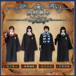 Wholesale Uniform Cloaks - Harry potter costume cosplay Hogwarts Robe cloak school uniforms Halloween clothes Gryffindor Slytherin Ravenclaw Hufflepuff