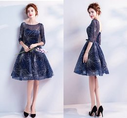 Wholesale Long Glitter Formal Dresses - Glittering Sequined Dresses Evening Formal Party Cocktail Dress Jewel Sheer Illusion 3 4 Sleeves 2018 New Knee Length Homecoming Dress
