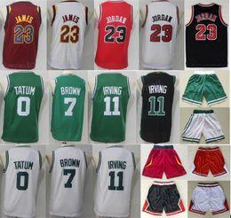 Wholesale Basketball Jersey Kids - Youth Basketball Jerseys Boys Shorts 23 Michael 23 LeBron James 11 Kyrie Irving 7 Jaylen Brown 0 Jayson Tatum Pants White Red Man Kids Girl