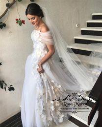 Prenses 3D Çiçek Artı Boyutu Gelinlik 2019 Line Kapalı Omuz Vintage Dantel Ülke Plaj Ucuz Boho Bohemian Yunan Stil Gelin Kıyafeti cheap cheap princess style wedding dresses nereden ucuz prenses tarzı gelinlik tedarikçiler