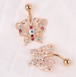 resin body bars Promo Codes - Top Quality Dangle Belly Button Ring 14G Rose Gold belly bar Body Jewelry Butterfly Navel Piercing For Sexy Women bijoux