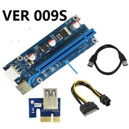 Wholesale pci e 1x riser adapter - VER 009S VER009S PCI-E PCI Express Molex 6Pin to SATA 1X 16X Riser Card USB 3.0 Extender Adapter LED Mining 30SETS  LOT