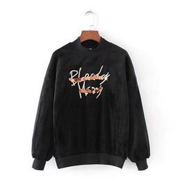 Wholesale Matching Sweatshirt - Wholesale-WY1449 New women stand collar sequins letter print sweatshirt ladies warm long sleeve match all hoodies