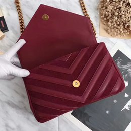 Wholesale Genuine Leather Bags For Sale - 2018 very fashion 24cm size genuine leather good quality luxury brand shoulder bag with gold chain for women with box on sale free shipping
