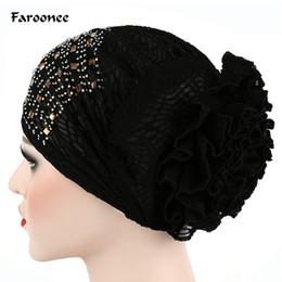 2019 chapeau de turban féminin Féroé Musulman Hijab Islamique Turquoise Cristal Twist Cap Femmes Femmes Dentelle Fleurs Turban Beanie Hat Bonnet Chemo Cap 2C0321 promotion chapeau de turban féminin