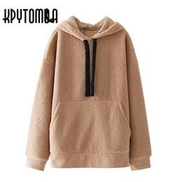 Wholesale Vintage Hooded Sweatshirts - Vintage Faux Shearling Sweatshirt Hoodies Women 2017 New Fashion Long Sleeves Streetwear Loose Hooded Pullover Casual Tops Mujer