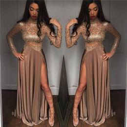 robe de soirée marron sexy Promotion 2019 sexy corsages marron illusion col haut robes de soirée formelles pure manches longues une ligne satin cuisse haute split longues robes de bal Vintage