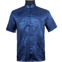 Голубой мандарин онлайн-Top Vogue Navy Blue Men's Silk Satin Shirt Top Chinese Vintage Short Sleeve Garment  Tang Suit S M L XL XXL XXXL